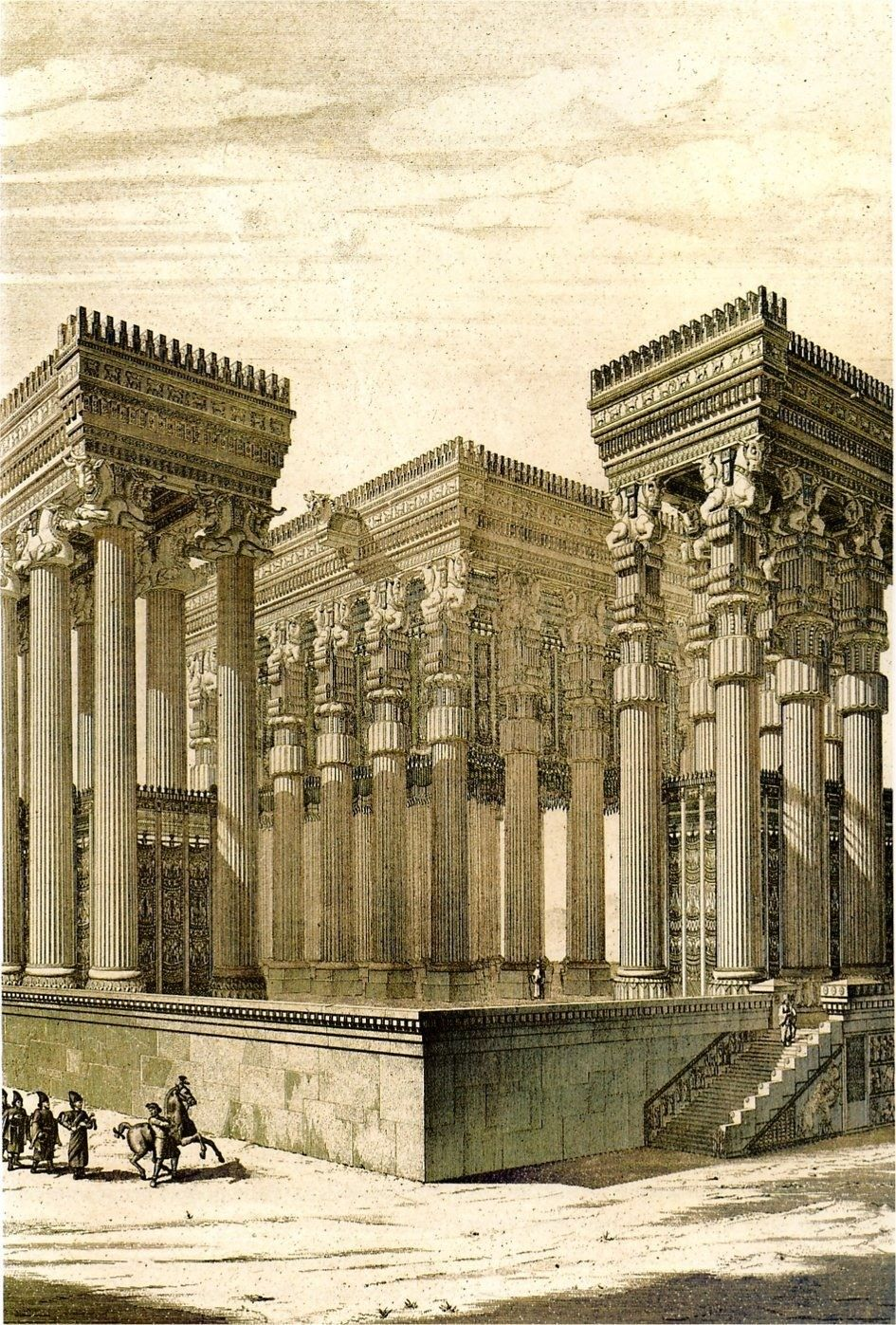 Reconstruction of the Apadana Palace, Persepelois illustration by Charles Chipiez Atlas Obscura