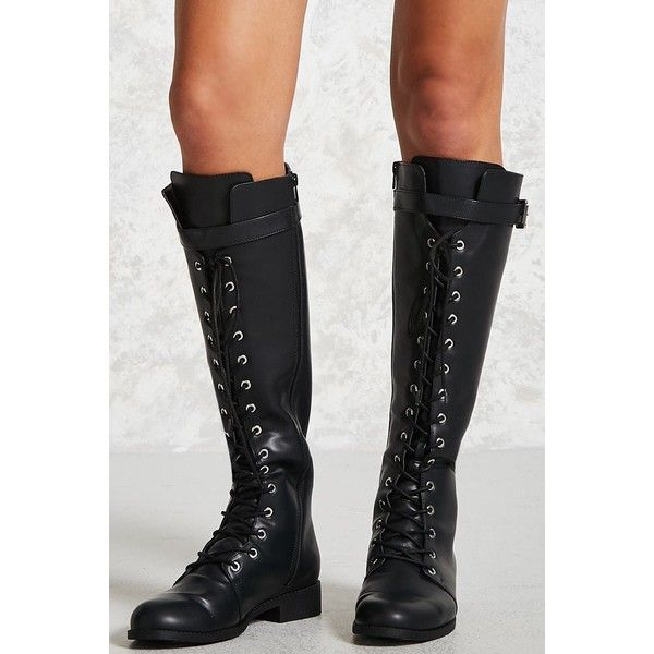 6f8421294d3 Forever21 Knee-High Combat Boots ($35) ❤ liked on Polyvore ...