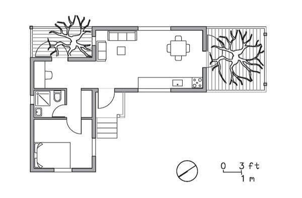 Plano de casa de un dormitorio con contenedores maritimos - Disenos de casas con contenedores maritimos ...