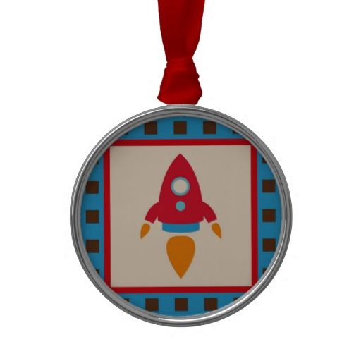 Cute Space Ship Rocket Outer Space Red Blue Christmas Tree Ornament