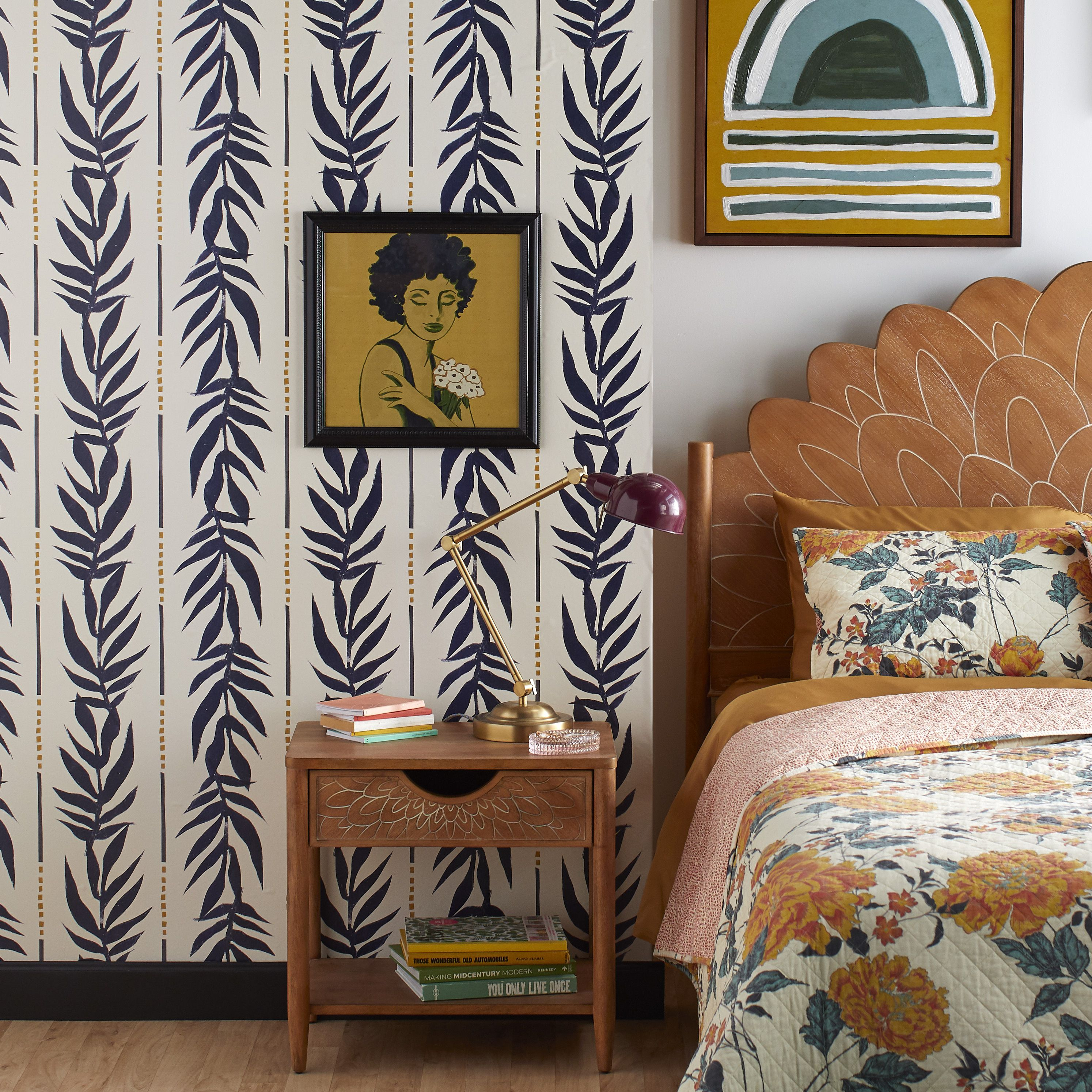 Navy Vintage Palm Peel And Stick Wallpaper By Drew Barrymore Flower Home Walmart Com Peel And Stick Wallpaper Home Decor Decor