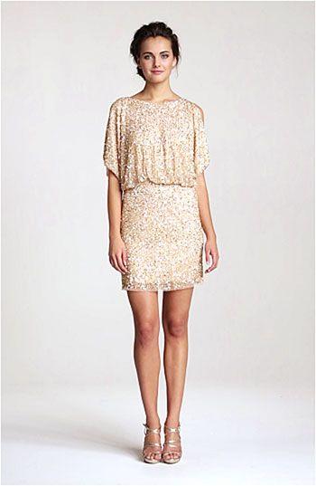 40530efa6c8 Aidan Mattox Bloused Sequin Cold Shoulder Dress