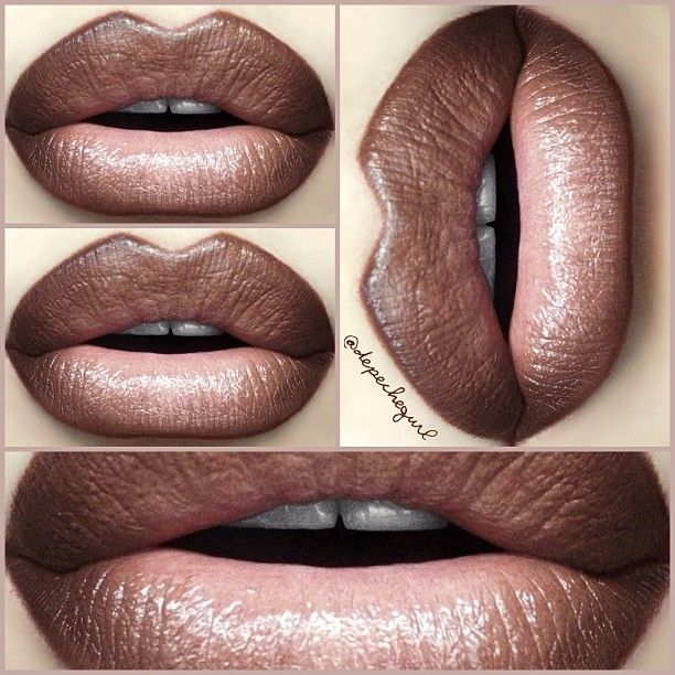 "#ShareIG Part 3 - 90's Grunge Dark Nude Lips. @five11_fashion Lipstick in ""Coco"" (perfect dark taupe/brown), MAC ""Creme D' Nude"" Lipstick in the center, & NYX Lipliners in ""Espresso"" & ""Light Brown."" www.five11fashion.com"