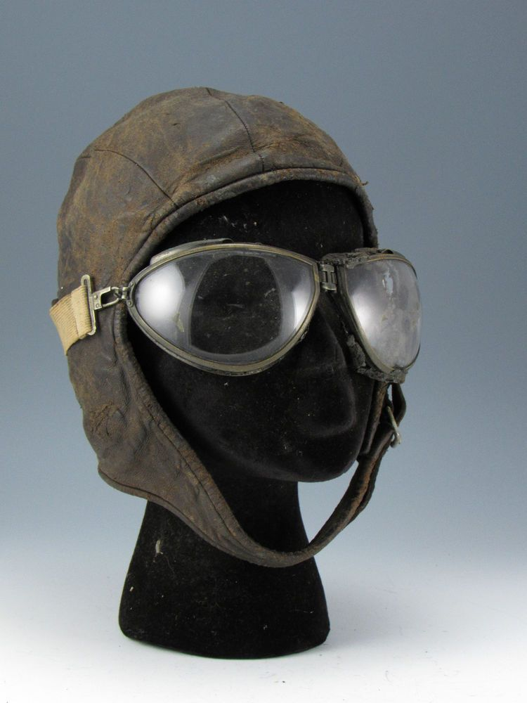Original WWI Leather Aviator Hat Spaulding Cap Goggles US Army Air Corps  WWII e3afa5c6ecd
