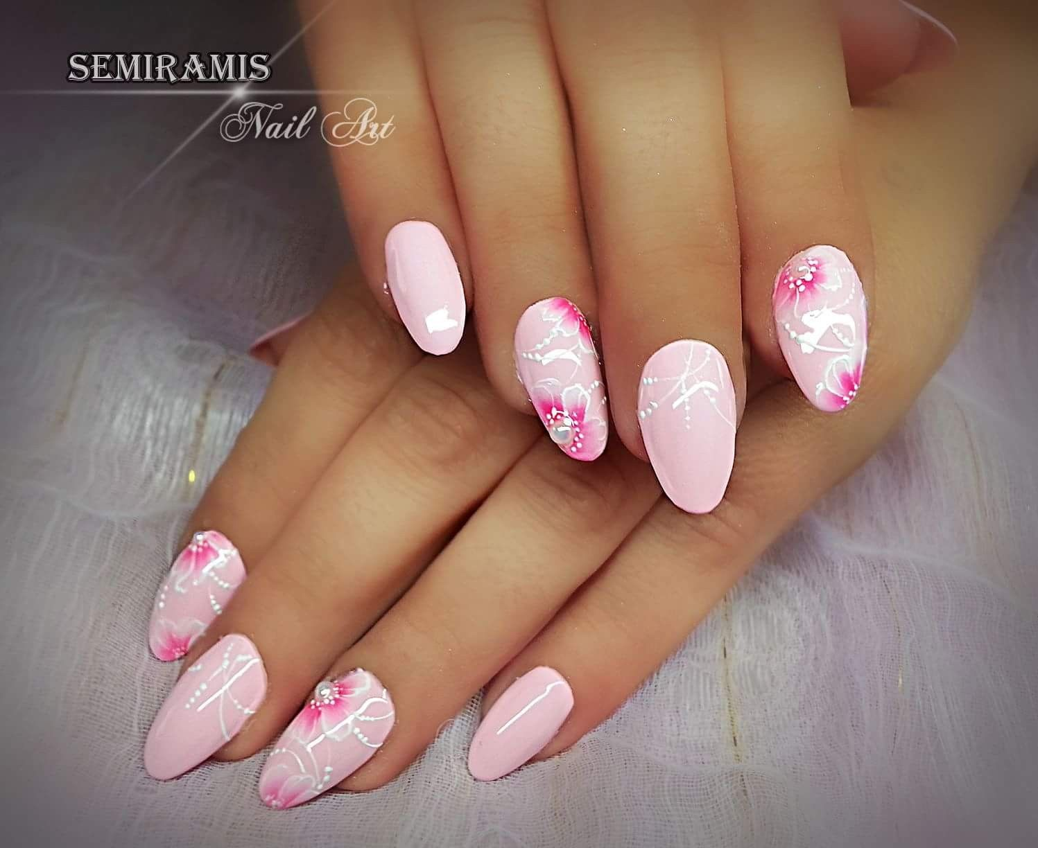 Single Line Nail Art : Pink nails one move flowers white lines köröm