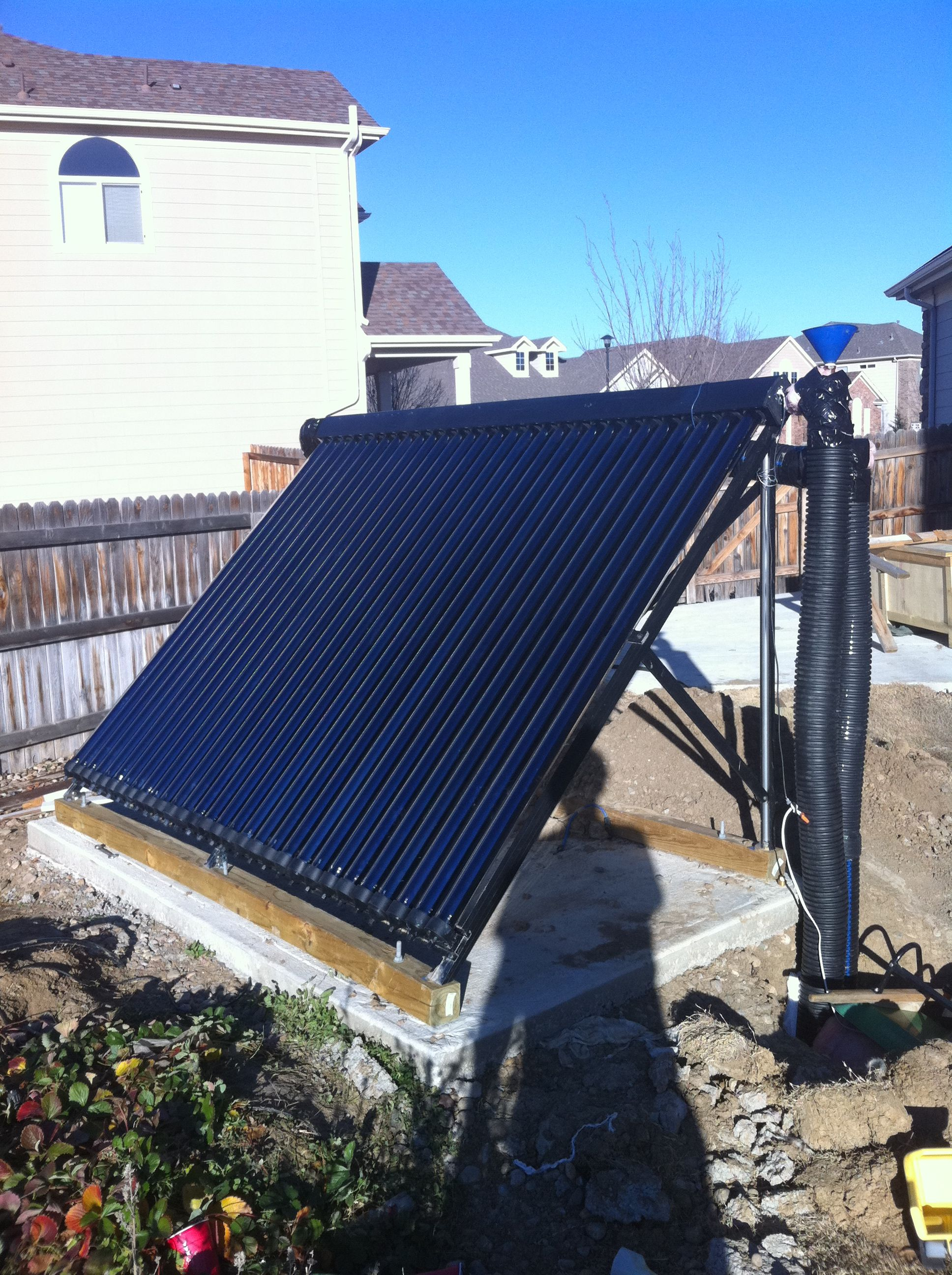 Solar thermal (heats the water) Eriks self constructed solar water heater-  pretty cool.