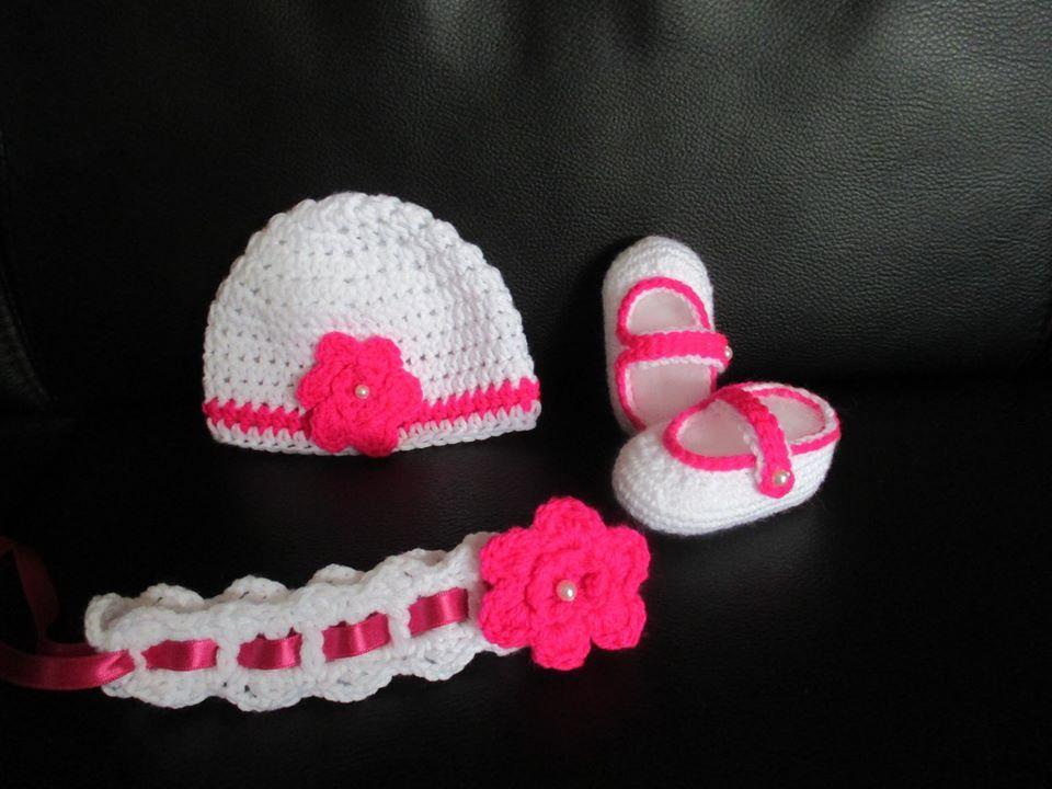 mädchenset, mütze, haarband, schuhe, gehäkelt, mit perlen, pink-weiss