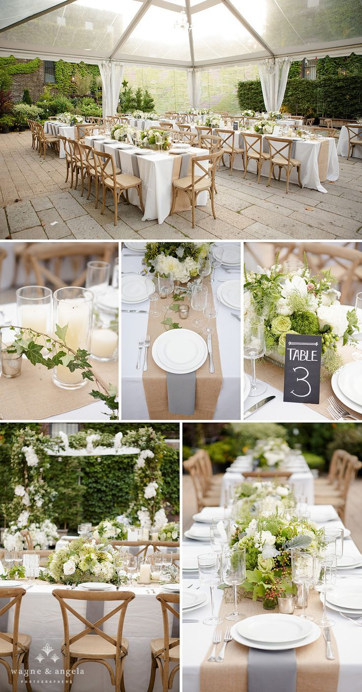 Grün und Weiß I 3 main floral arrangements with scattered candles and flowers in a lace pattern between the centerpieces framed by two gold strips of ... & Rustic wedding dinner party | Wedding Chairs | Pinterest | Wedding ...