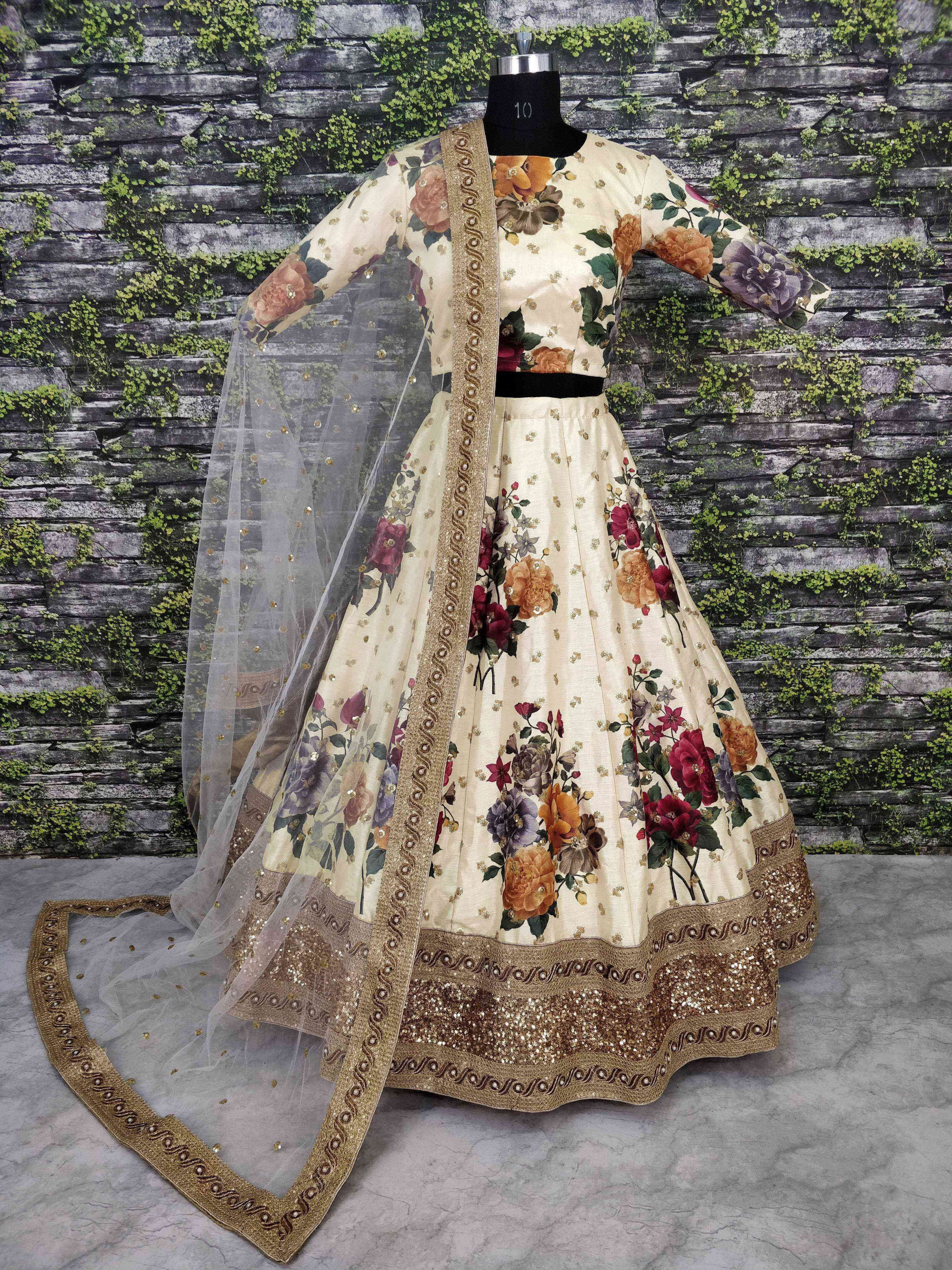 Floral Printed Lehenga Choli Set Designer Lehenga Indian Dress Silk Lengha Wedding Skirt Custom Made Party Wear Dress Ghagra Choli For Women