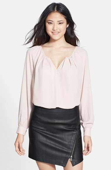 Pink blouse.
