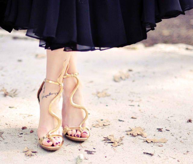 Gold Snake Serpent T-Strap Sandals