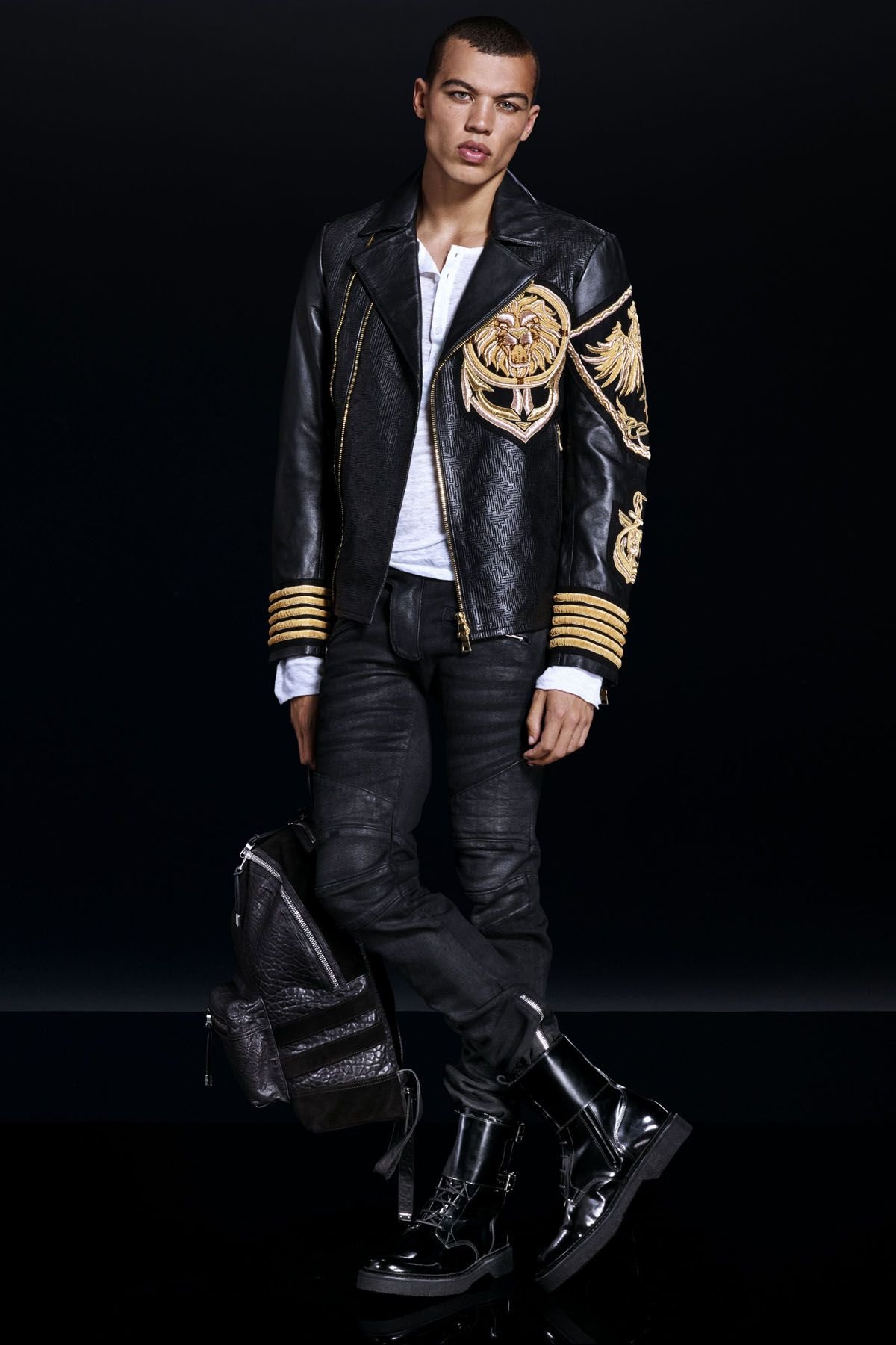 53787639 Have you seen the Balmain x H&M men's collection? Gold embroidery, patent  boots, and leather backpacks are only the beginning! Click through to see  the full ...