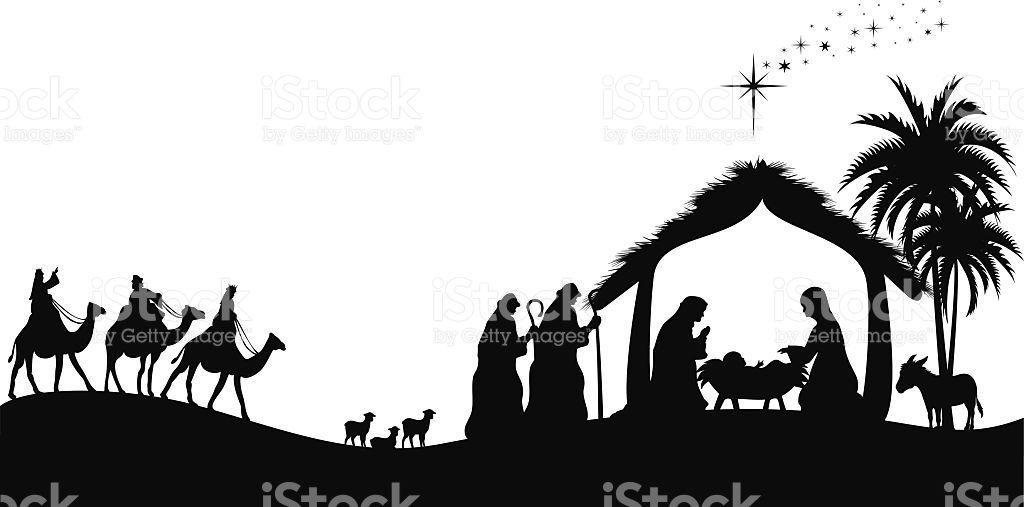 Nativity Vector Art Illustration Nativity Silhouette Christmas Nativity Scene Silhouette Art