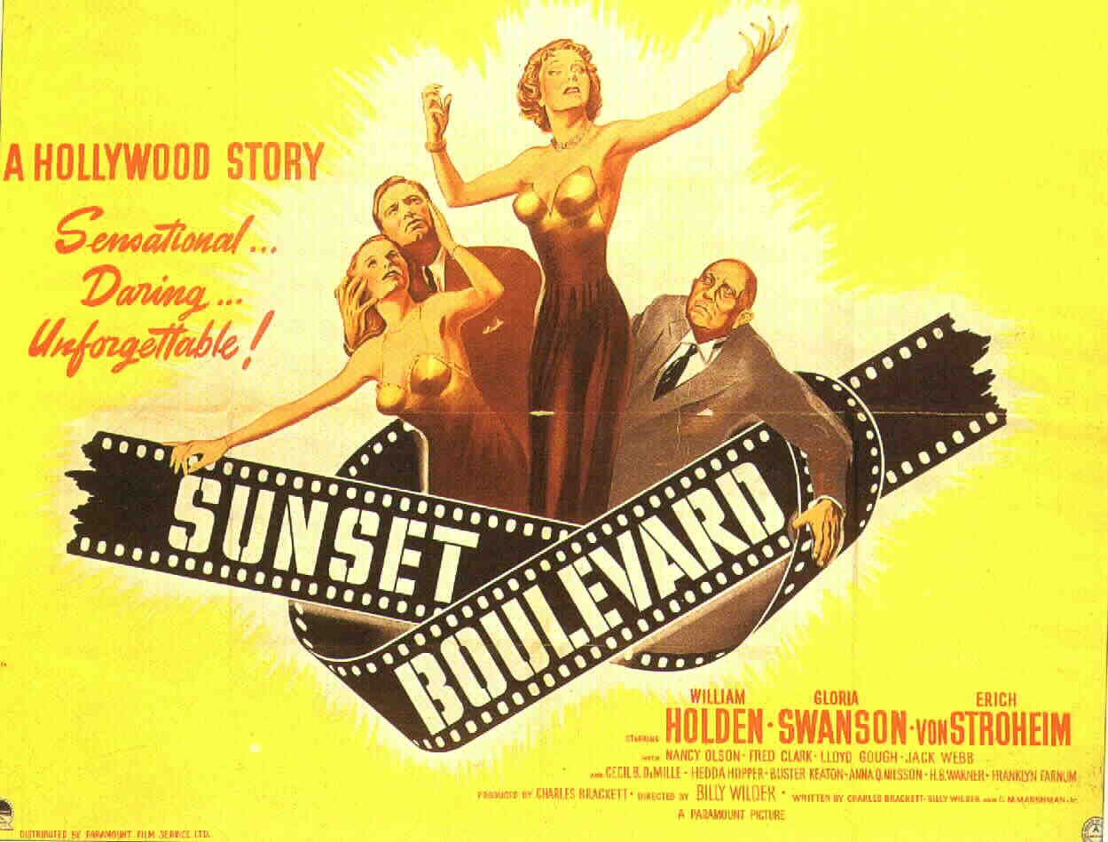 Sunset Boulevard - Gloria Swanson, William Holden and Erich Von Stroheim directed by Billy Wilder with cameos by Cecil B. DeMille, Hedda Hopper & Buster Keaton as themselves.