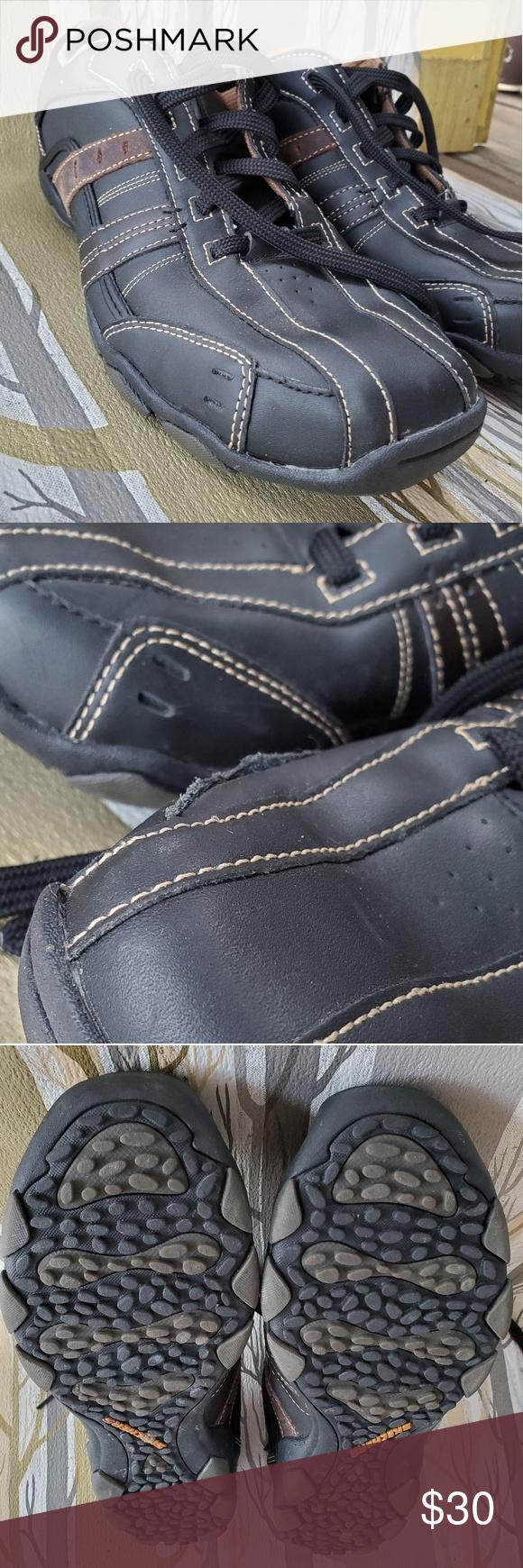 Mens sketchers leather tennis shoes