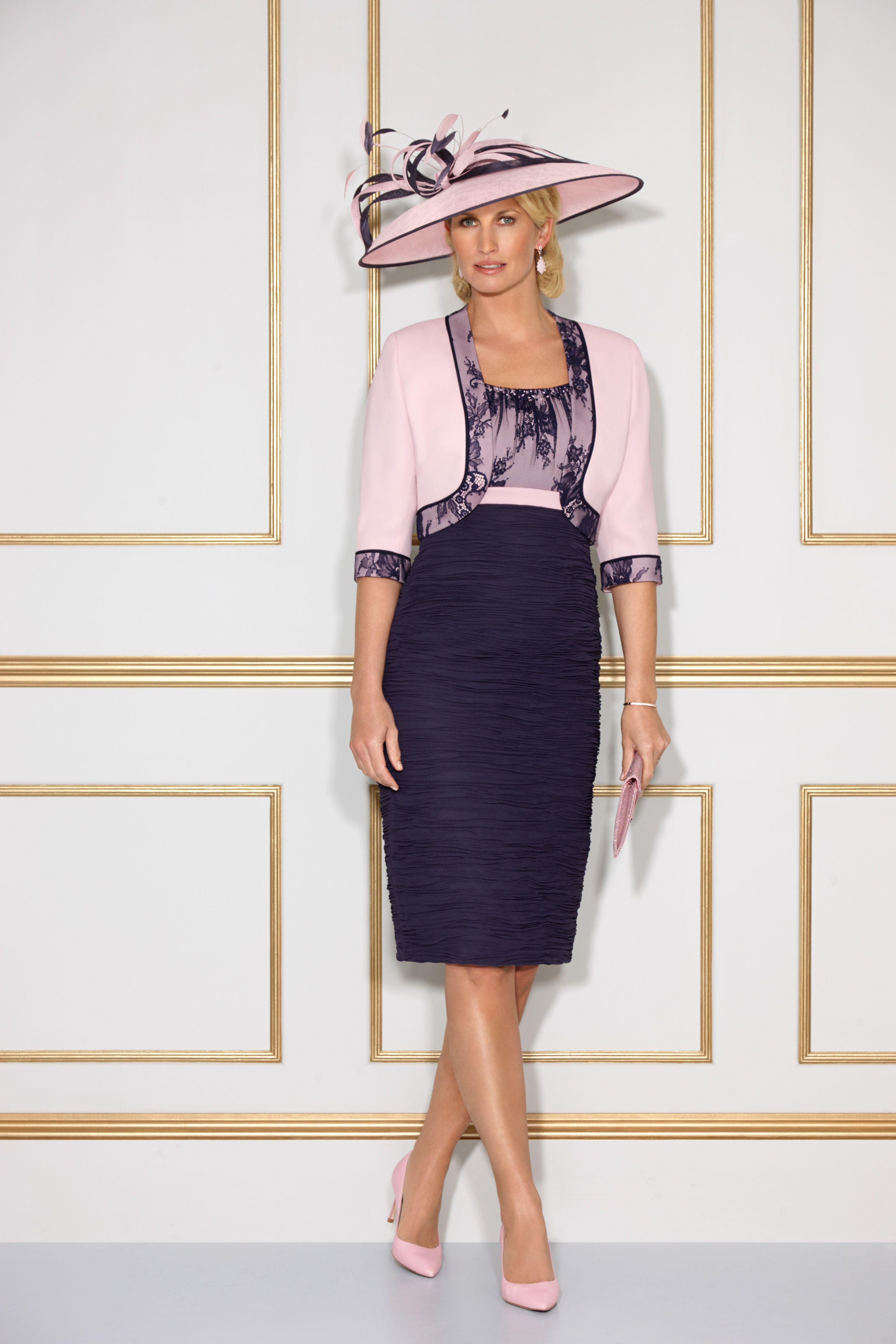 Condici dress u jacket style colour pink parfait u navy