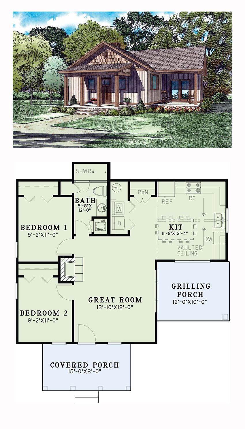 Craftsman Style House Plan 82346 With 2 Bed 1 Bath Craftsman Style House Plans New House Plans House Plans