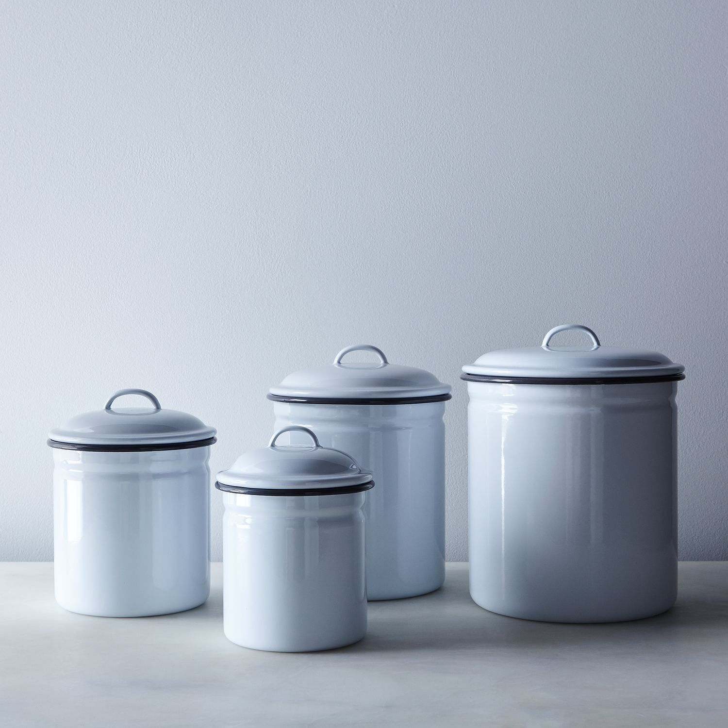 White Grey Enamel Kitchen Canisters
