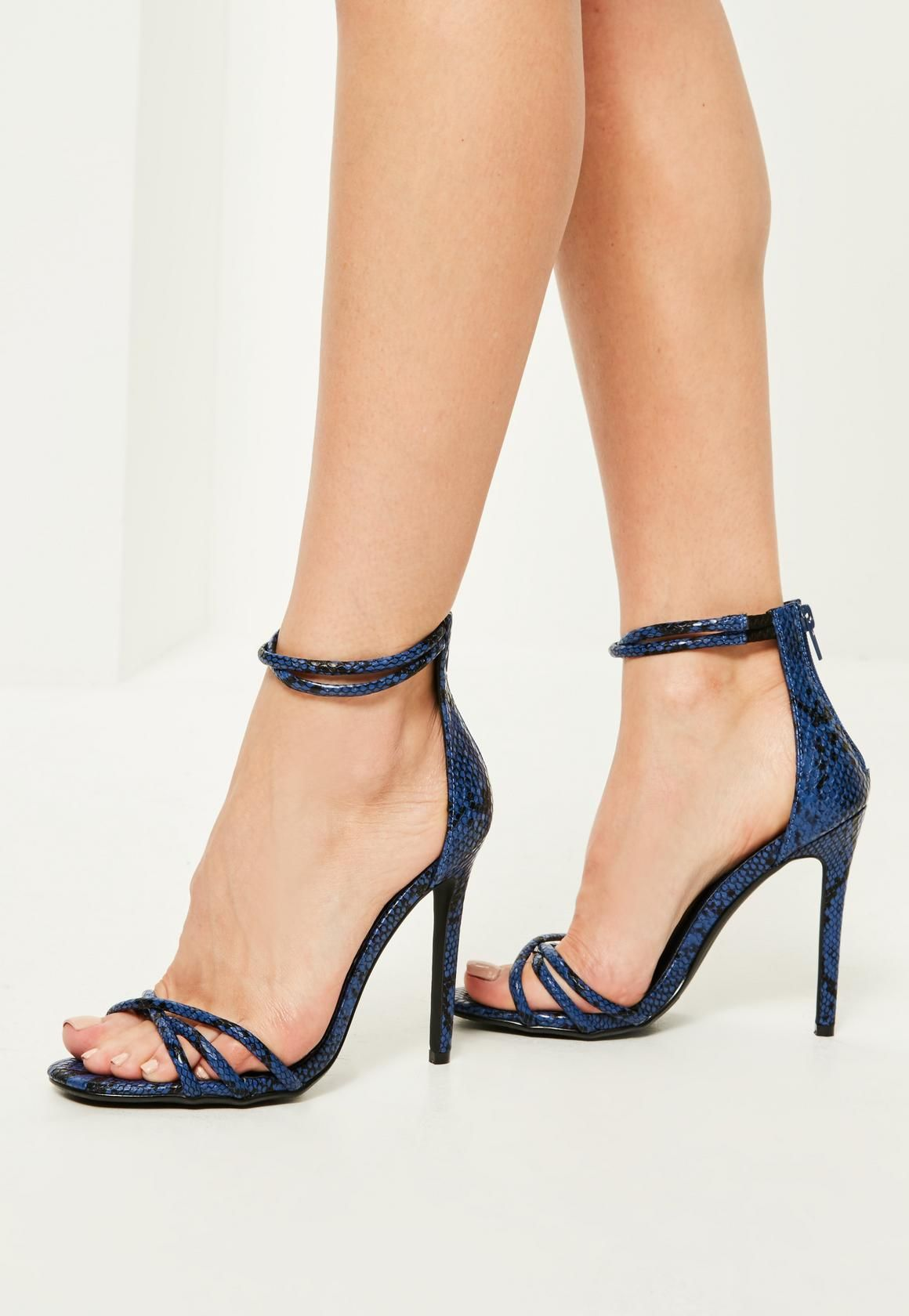 5f0c20ab12e2 Missguided - Blue Snake Effect Cross Strap Barely There Heels ...