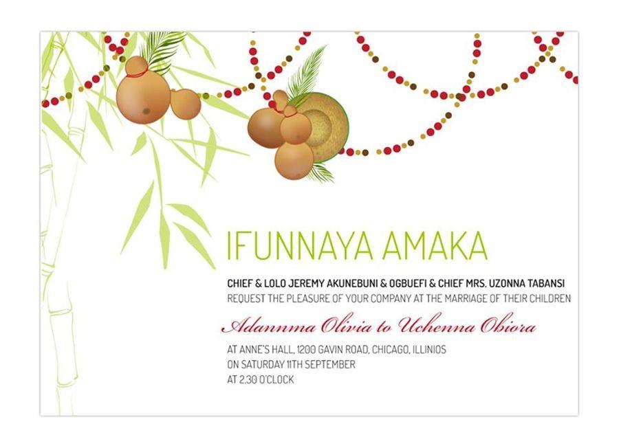 Ifunaya Amaka Nigerian Igbo Traditional Wedding Invitation Traditional Wedding Invitations Wedding Reception Program Engagement Invitation Cards