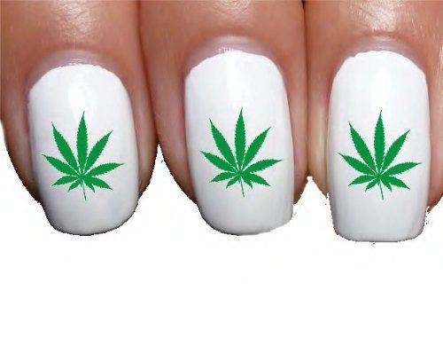 White Manicure Green Pot Leaf Nail Art Decals