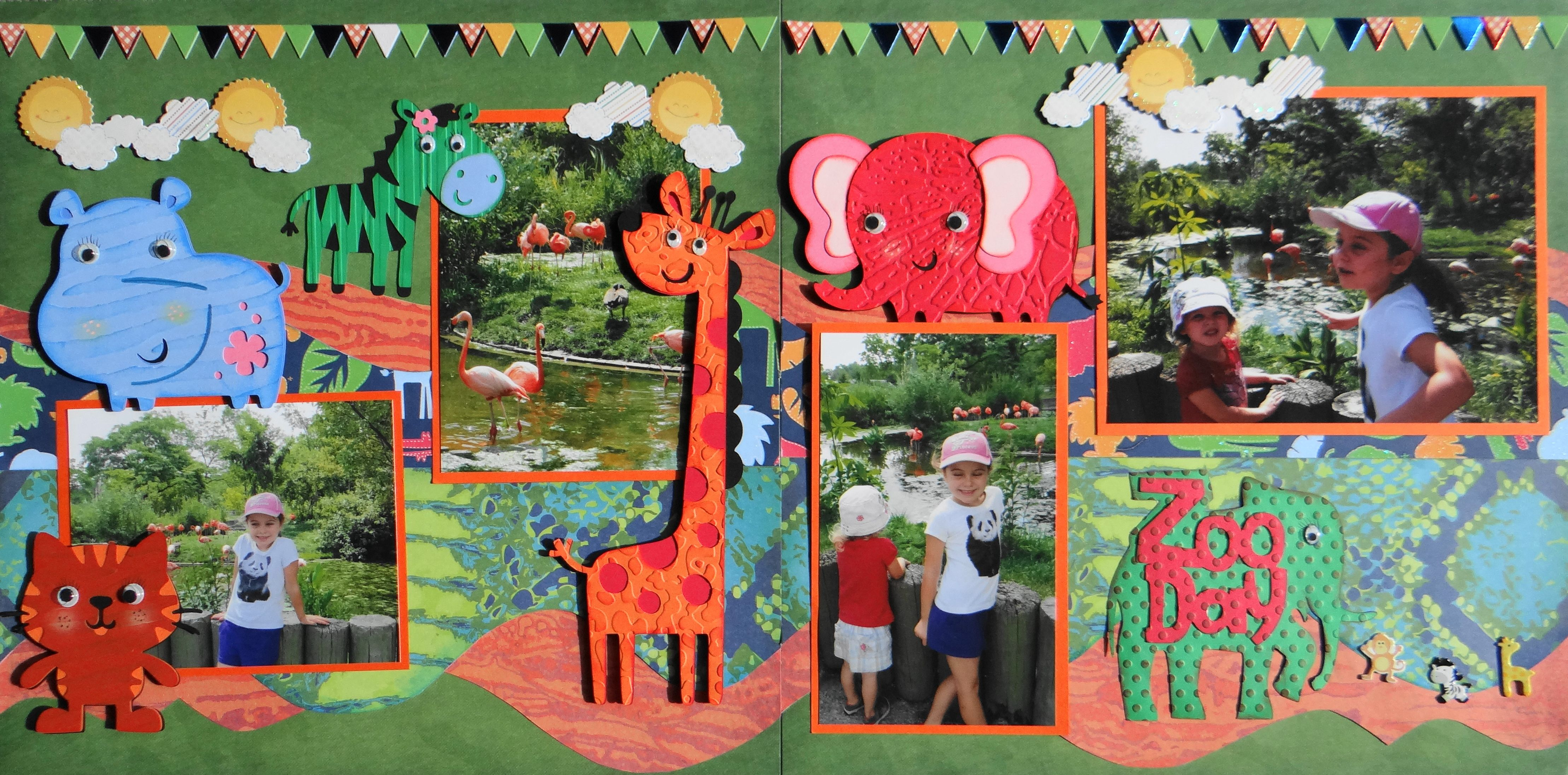 Zoo animal scrapbook ideas - Scrapbook Page Zoo Day 2 Page Layout With Hippo Tiger Zebra
