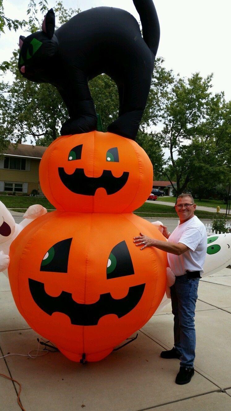Gemmy quot rare  halloween blk cat pumpkin ghosts