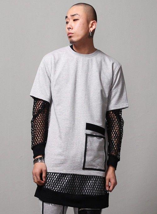 34fde2723329e4 Plastic Pocket Paneled 1/2 Tee $21.60 #men #fashion #style #street ...