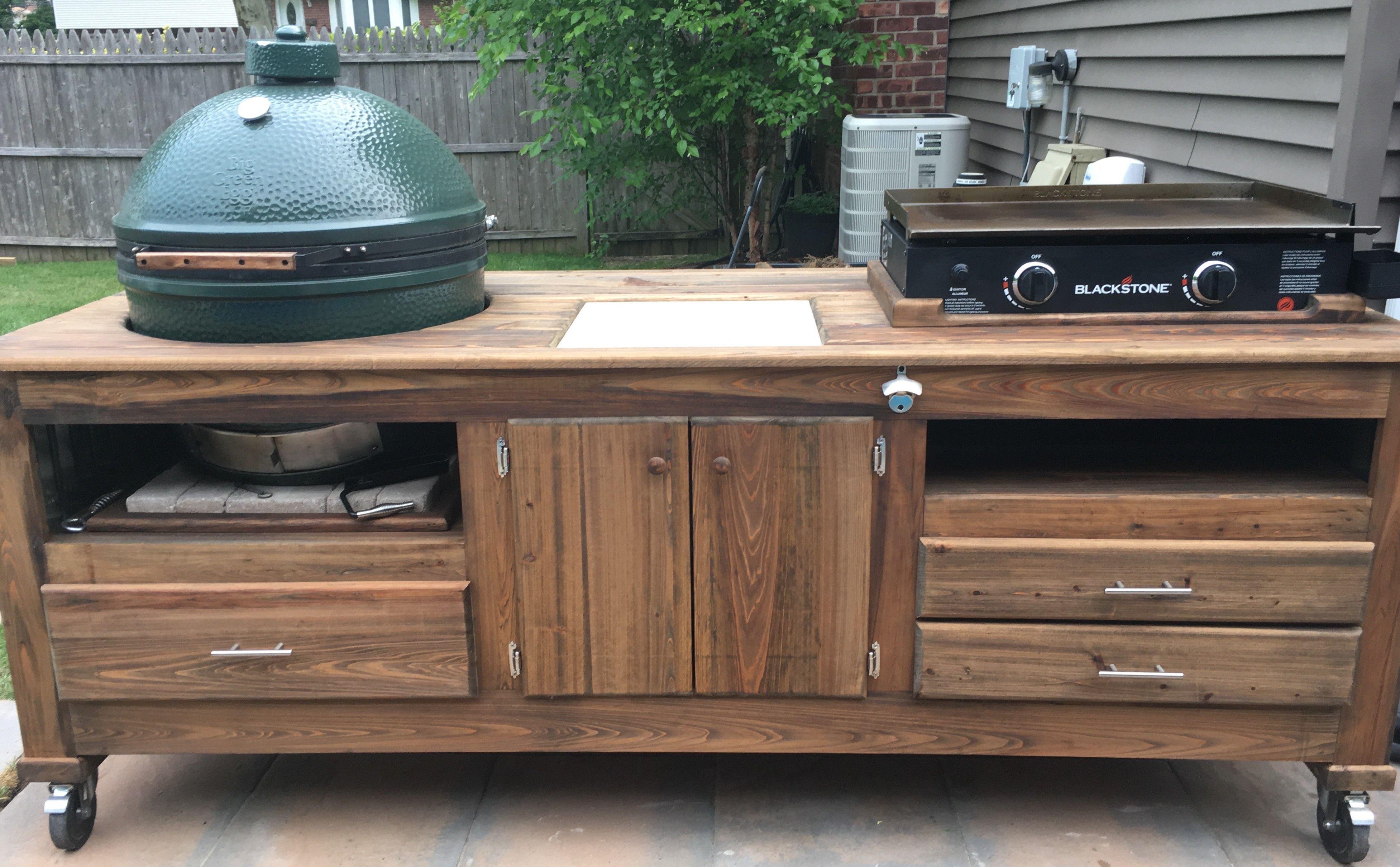 Griddle Kamado Combo Table Wood By Dana Diy Outdoor Kitchen Outdoor Kitchen Outdoor Kitchen Design