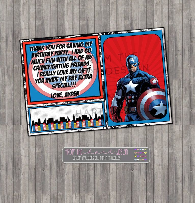 Captain America Inspired Birthday Thank You Card Comic Marvel
