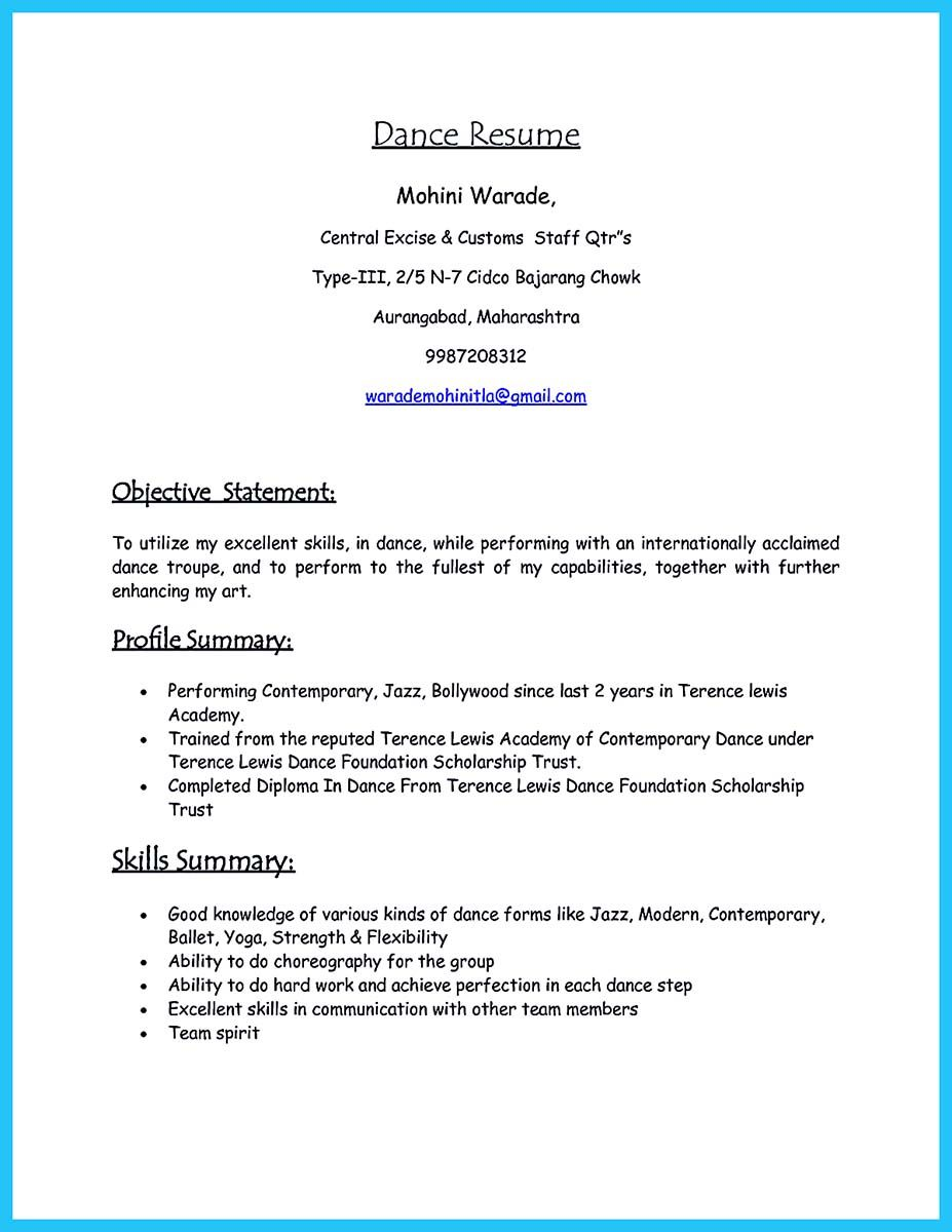 nice The Best and Impressive Dance Resume Examples