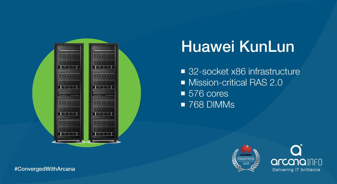 Huawei Enterprise just unveiled the world's first 32-socket x86 mission-critical server, the KunLun.  With capabilities of up to 576 cores and 768 DIMMs, KunLun can easily manage your enterprise DB/OLTP workloads. goo.gl/CrnEKb  To know more about our partnership with Huawei, visit tinyurl.com/PartneringWithHuawei  ‪#‎ConvergedWithArcana‬