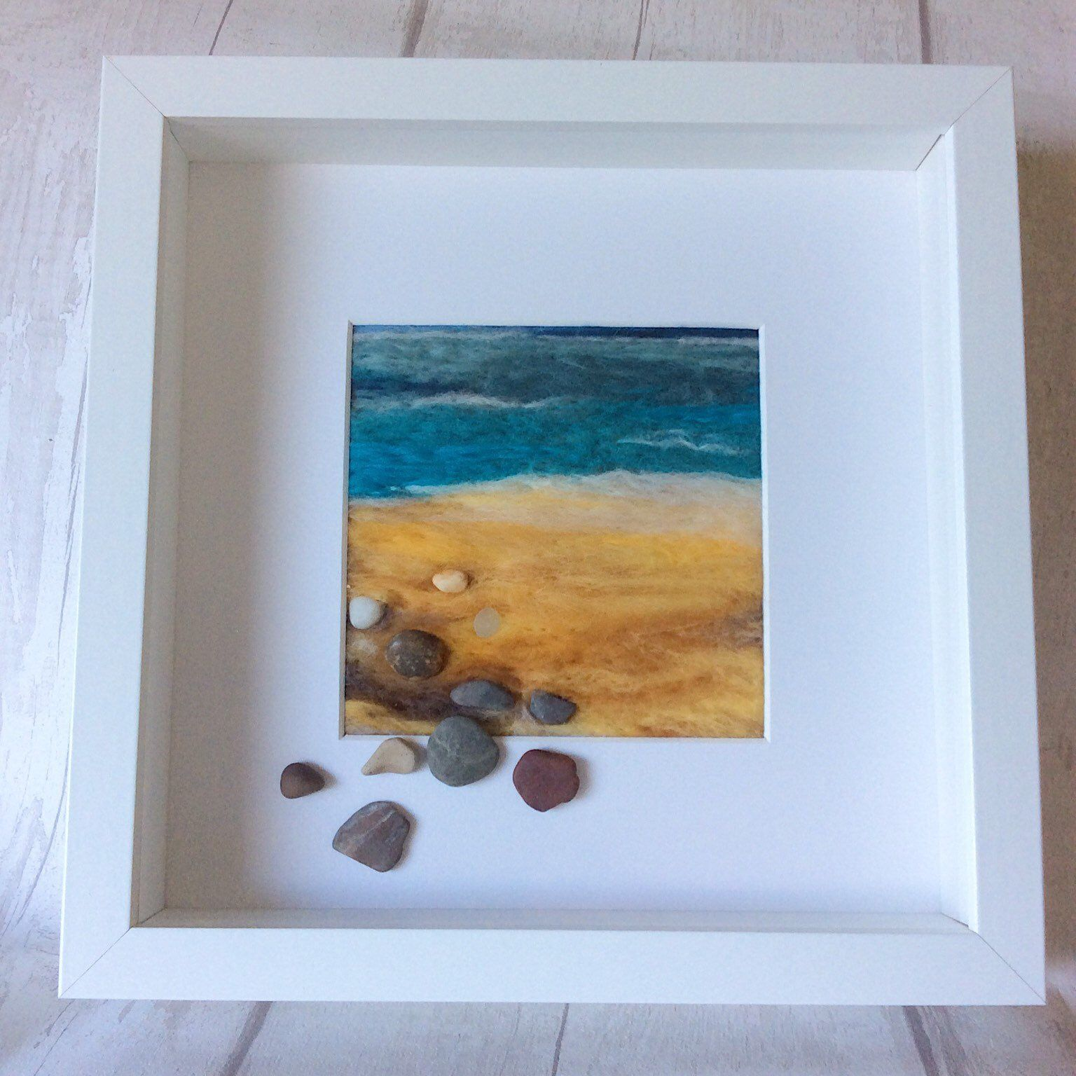 Excited to share this item from my #etsy shop: #Smallneedlefeltedbeachpicture, #feltedwoolpainting, #seasidedecor, #beachscapeartwork #housewarming #relaxingartwork #beachscapepicture #feltedlandscape #beachart #beachlife #feltedbeach #needlefeltedbeach #smallartwork #beachhome #beachdecor #bluedecor #yellowdecor #abstractart #abstractbeachart #abstractbeach
