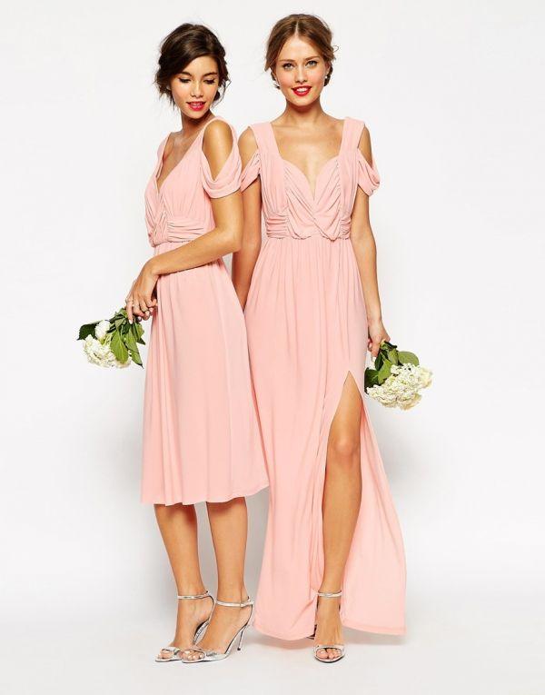 d22ea5606 Vestido corto y diseño largo con abertura en la falda en rosa empolvado  ideales para madrinas