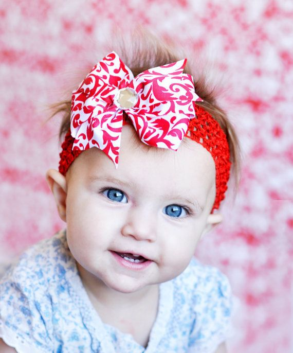 Red damask baby bow...lovely Christmas baby hair bow... FREE head band...Great  for baby a0e169d3725