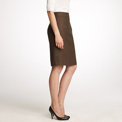 j.crew telegraph pencil skirt in wool flannel, $118 ...