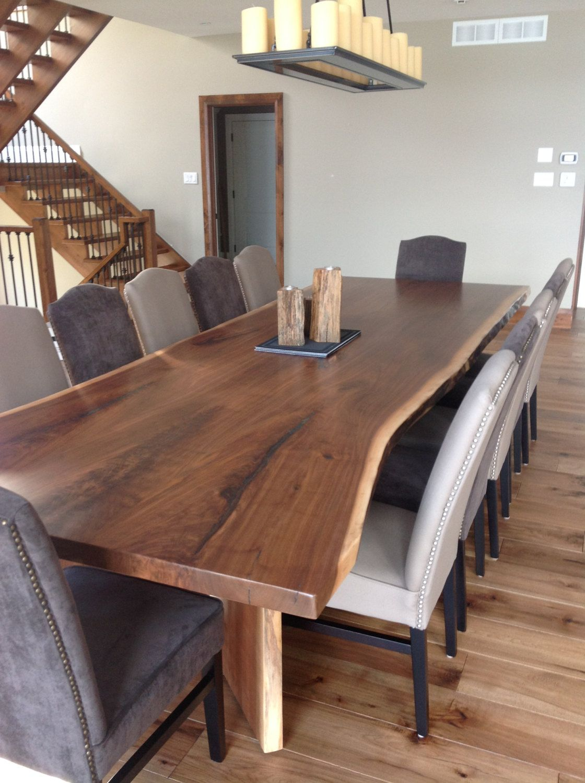 wood table kitchen home depot ceiling lights black walnut live edge dining room 8 book matched harvest