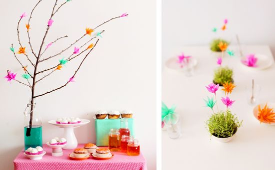 Neon Party Paper Flowers