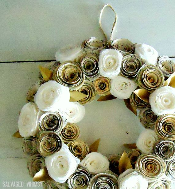 Book page flower wreath w gold handpainted leaves.