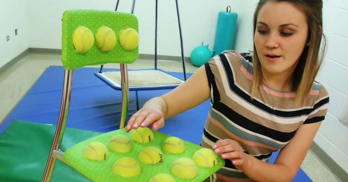 Teacher S Diy Tennis Ball Chairs For Kids With Special Needs Go Viral On Social Media Teachers Diy Elementary Schools Helping Kids