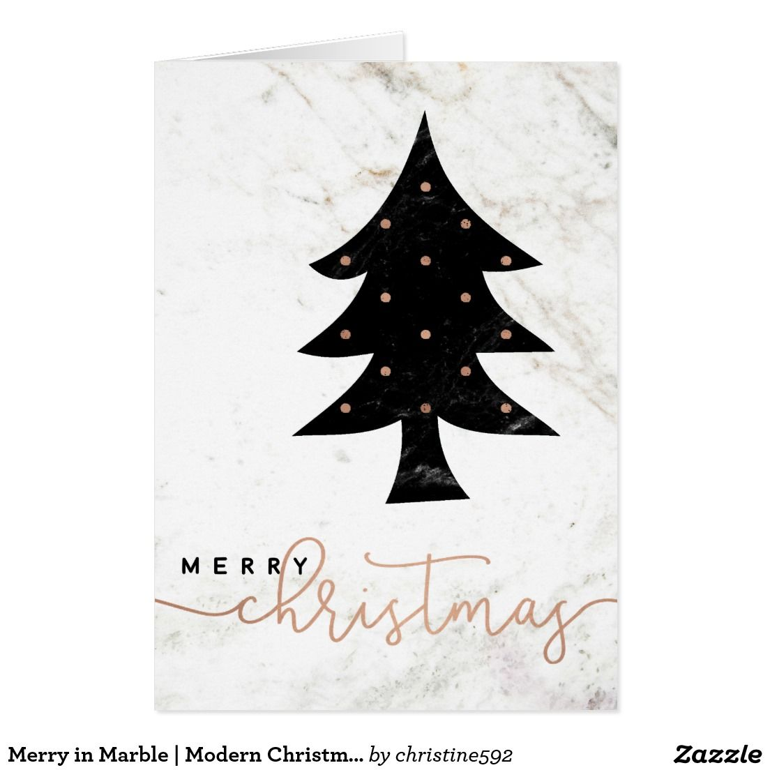 Merry in Marble | Modern Christmas Card in Black, White, and Rose Gold