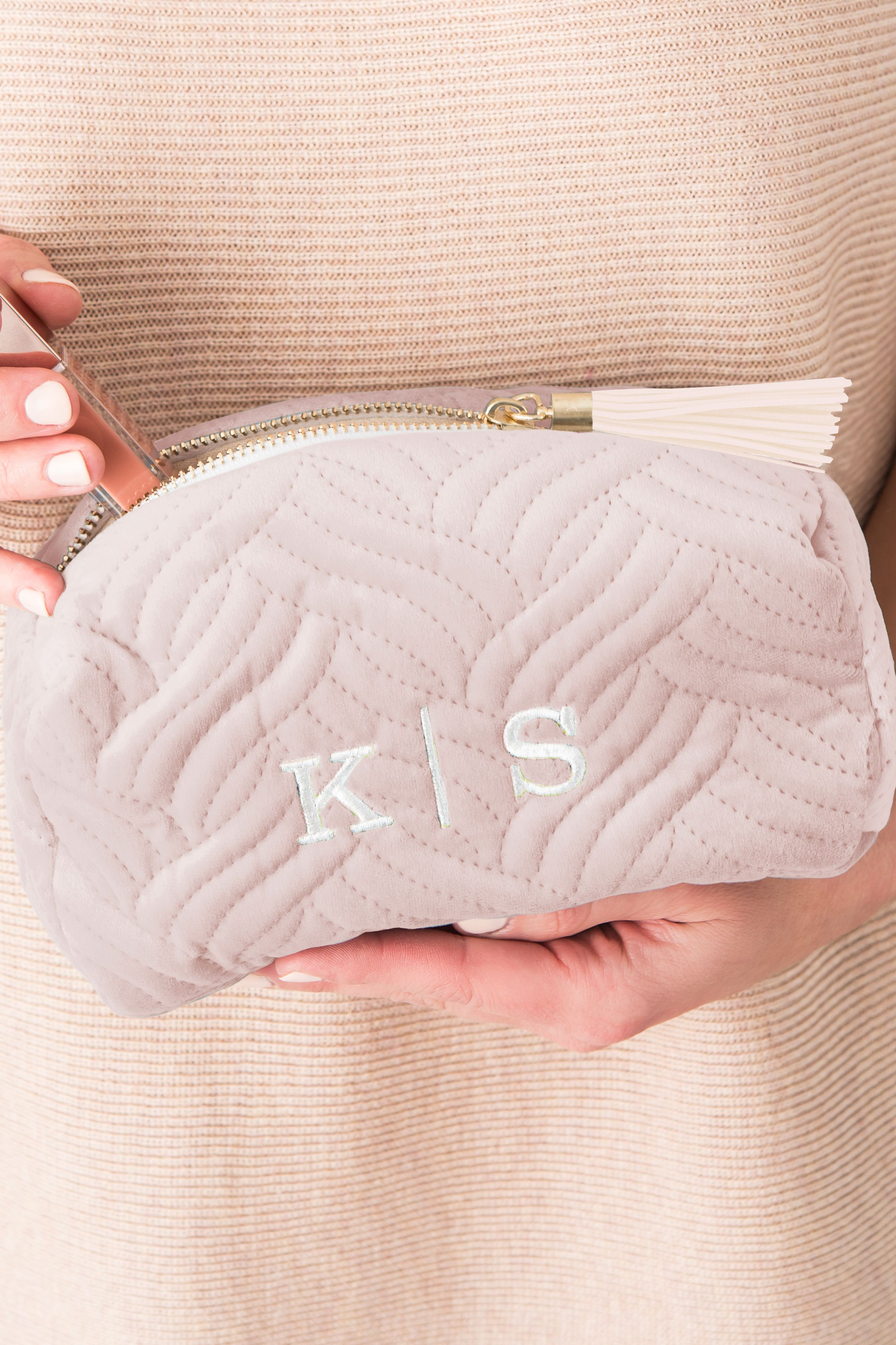 Here is a cute ultra-soft blush pink personalized velvet makeup bag. This cosmetic  bag with a tassel pull is small enough to toss into your tote bag or ... e0916d750fae7