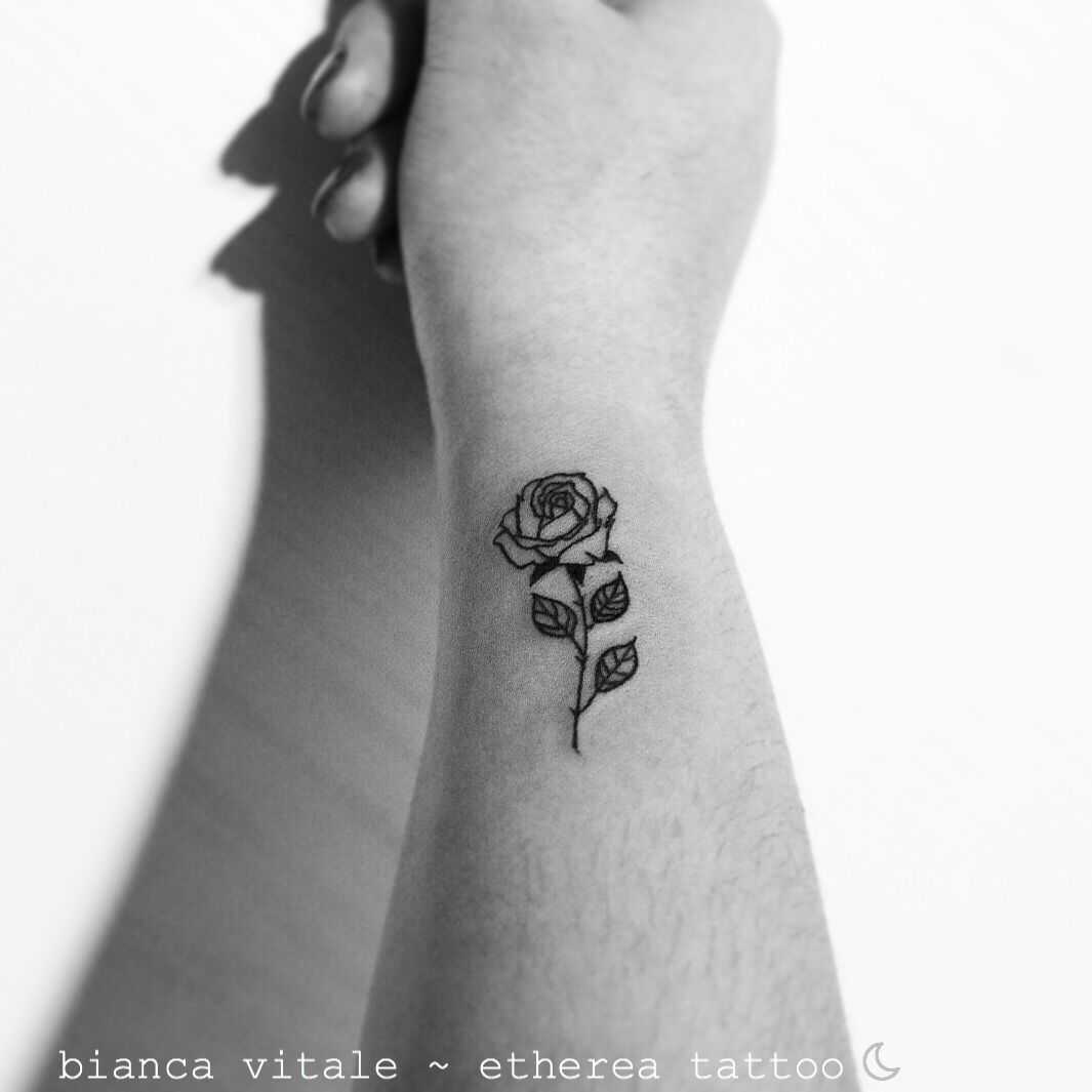 e1f7c827c Minimal rose tattoo   outline rose , fineline rose, small tattoo idea ,  simple rose tattoo by Etherea Tattoo