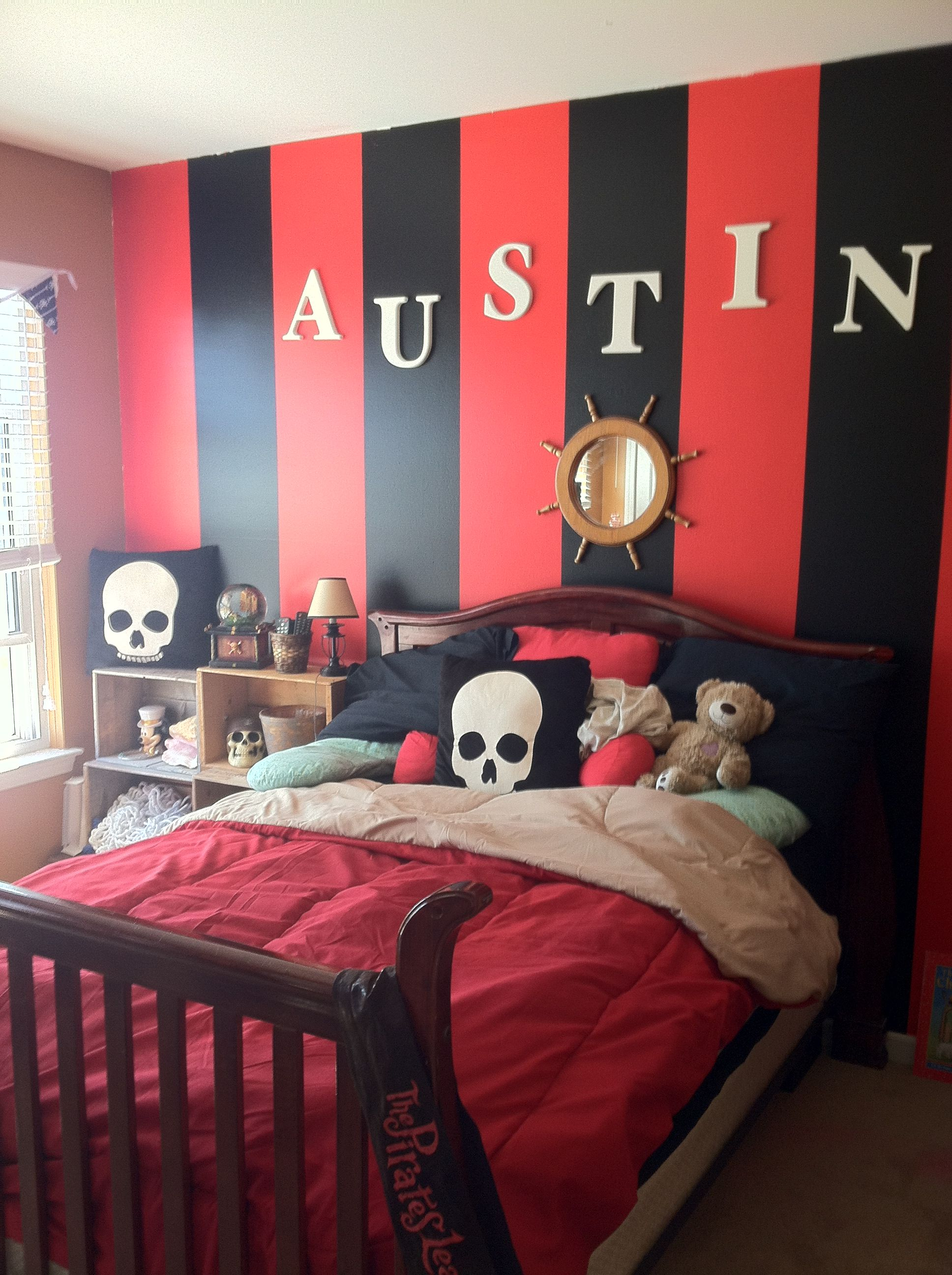 The Wall In Austin S Pirate Bedroom It Is Red And Black