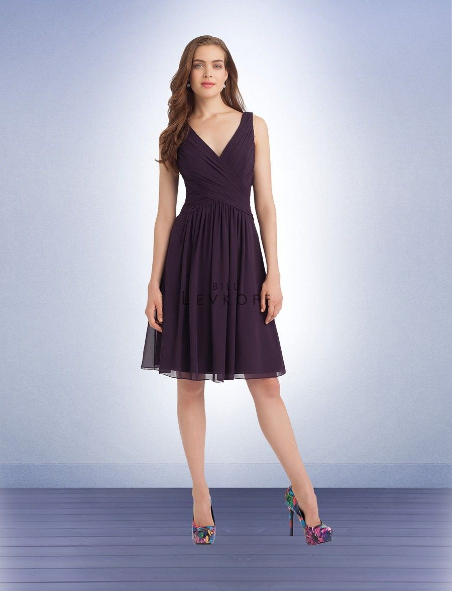Bill levkoff bridesmaid dress shoulder straps complement the v