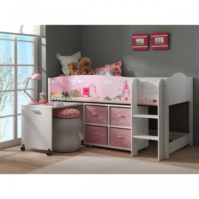 exclu lit multifonction mezzanine rose pour petite fille princesse lit enfant. Black Bedroom Furniture Sets. Home Design Ideas
