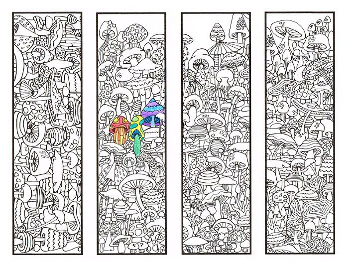 coloring bookmarks mushroom bookmark coloring page for adults and big kids four printable bookmarks