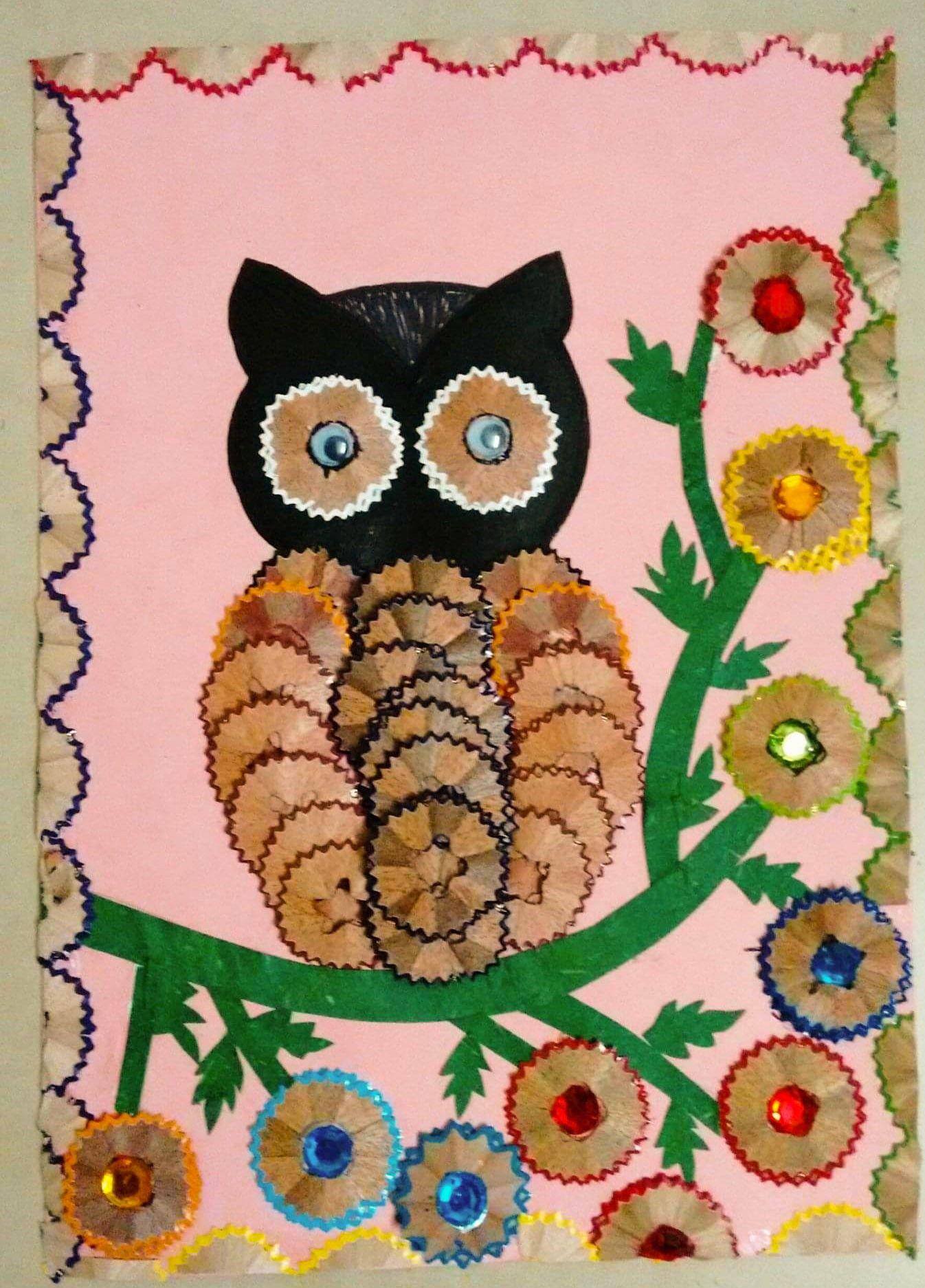 Owl with pencil shavings .#crafts2dio #owl #bestoutofwaste ...