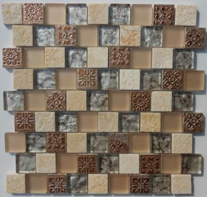 Stamped Metal With Brown And Copper Gl Mosaic Tiles Stone