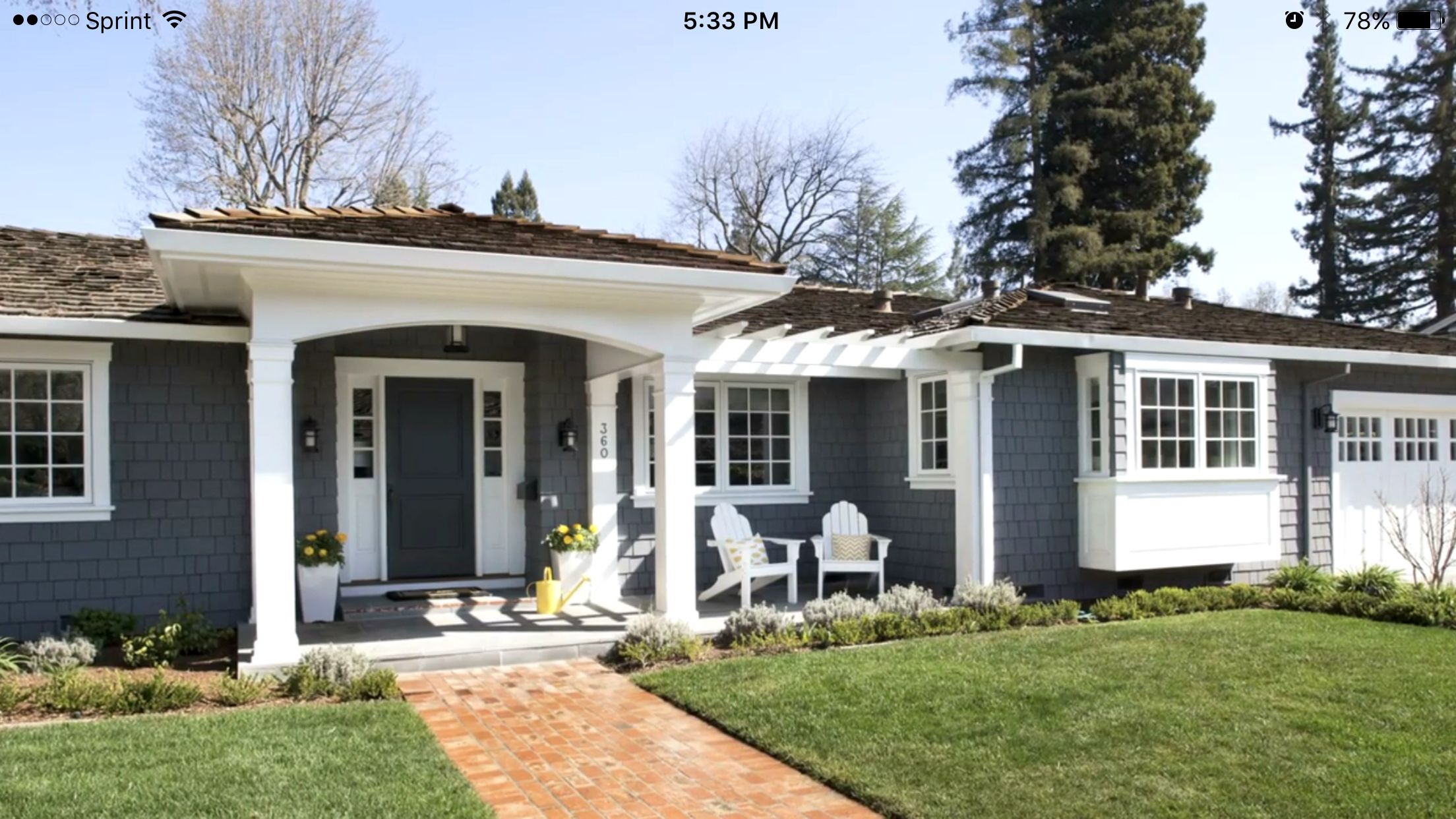 Patio could extend past walk way to bay windows push - Ranch house exterior paint colors ...